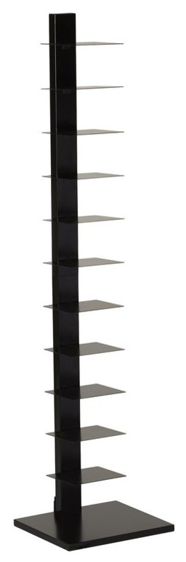 11 Shelves Metal Frame Bookcase, Black