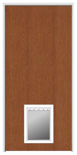 Red Oak Flush With Pet Door 315x8175 Left Hand Interior Door
