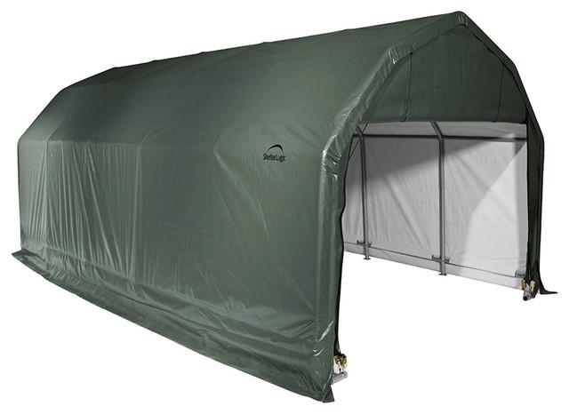 Shelter Logic Outdoor Sheltercoat Garage 12&x27;x24&x27;x9&x27;, Barn Standard, Green.