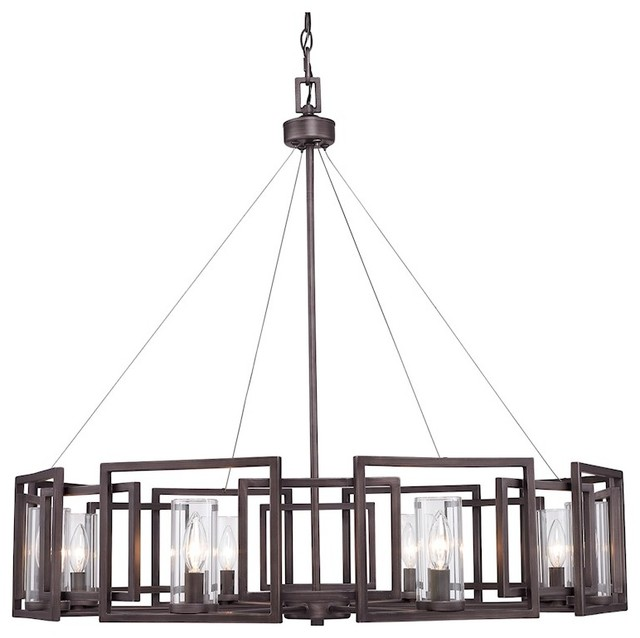 Golden 8-Light Chandelier, Gunmetal Bronze