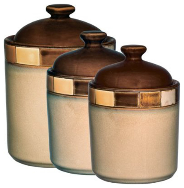 Attractive Casa Estebana 3 Piece Canister Set Contemporary Kitchen Canisters And Jars