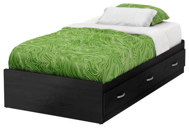 South Shore Lazer Twin Mates Bed 39&x27;&x27;, Black Onyx.