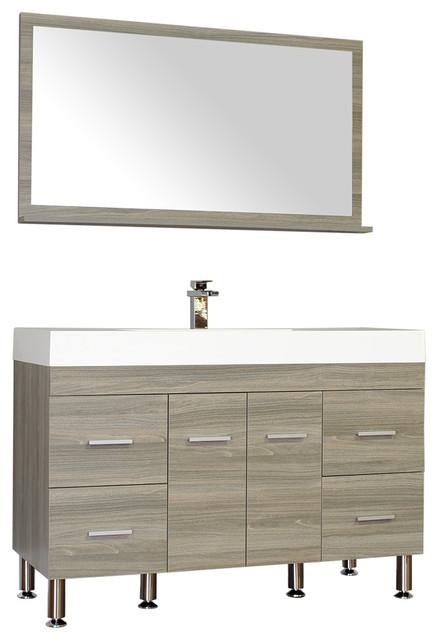 "Ripley 47"" Single Modern Vanity Set In Gray With Mirror."