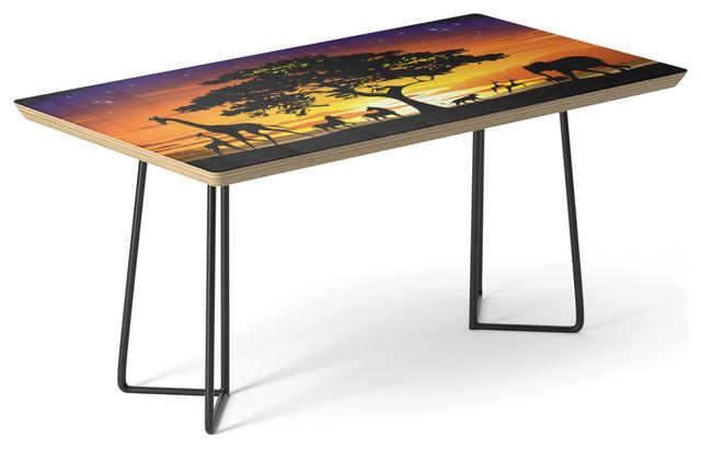 Society6 Coffee Table Birch Steel Wild Animals On African Savanna Sunset