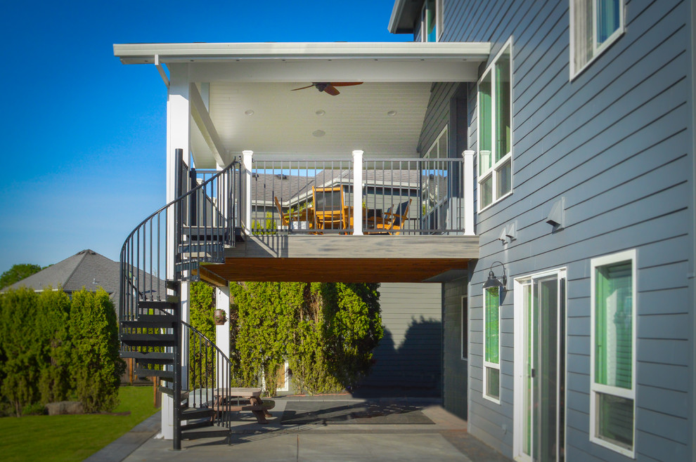 Second Story Deck Patio Cover With Spiral Staircase Portland