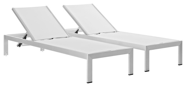 Modern Contemporary Urban Outdoor Patio Chaise Lounge Chair, White, Aluminum.