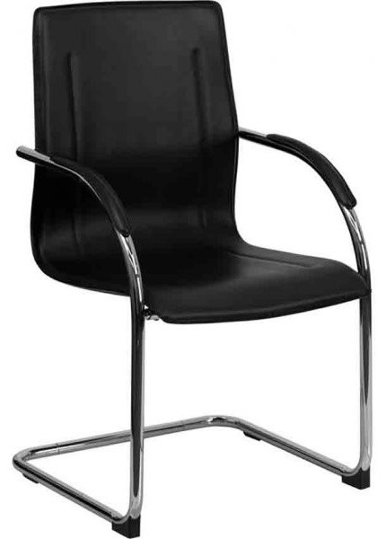 Office Side Chairs black vinyl side chair - contemporary - office chairs -