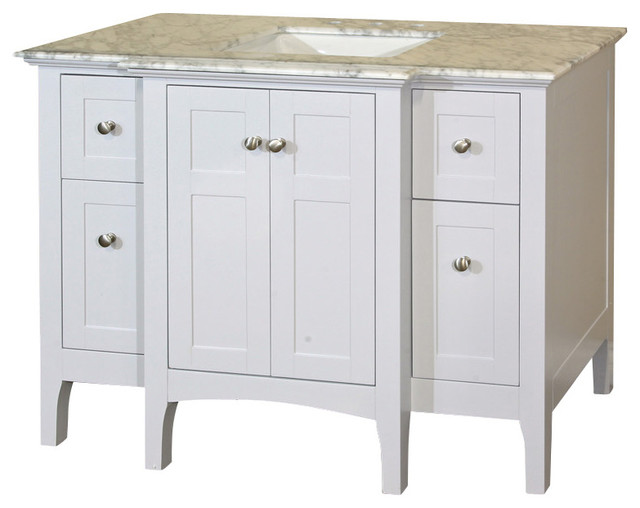44 Inch Single Sink Vanity Wood White Cabinet Only