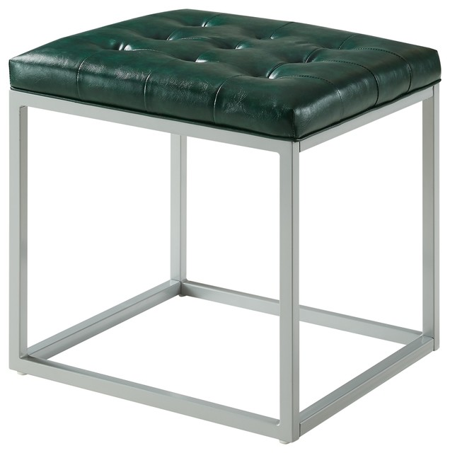 Teresa Pu Leather Button Tufted Metal Frame Cube Ottoman