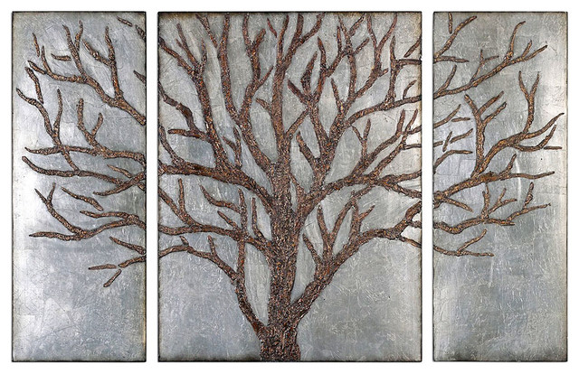 Rustic Wall Art french style wall art sculpture antiqued background tree design, 3