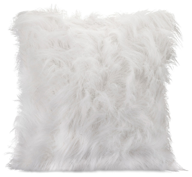 Nikki Chu White Faux Fur Pillow Contemporary Decorative Pillows