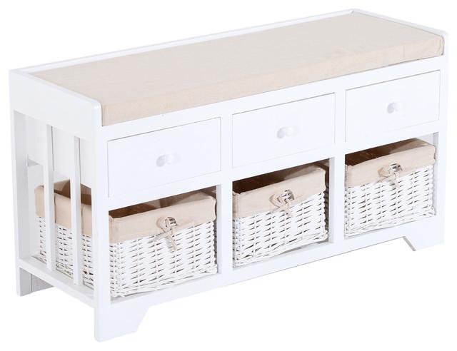 Excellent 3 Drawer 3 Basket Padded Storage Bench White Beige Cjindustries Chair Design For Home Cjindustriesco