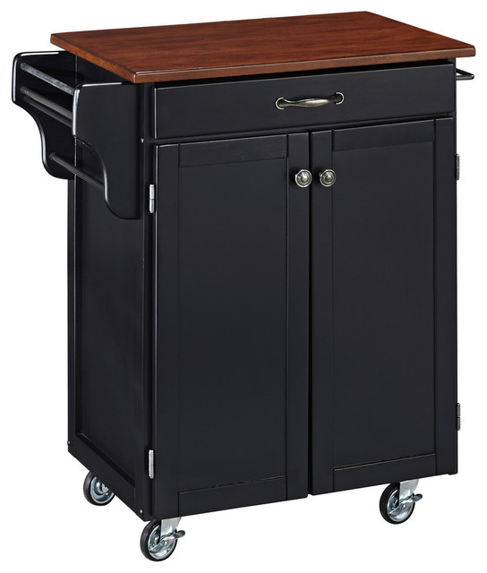 cuisine cart black finish with cherry top transitional