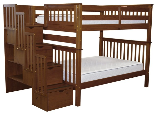 Bedz King Bunk Beds Full Over Full Stairway With 4 Step Drawers