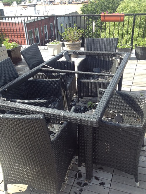 Patio Table Shattered   What Now?