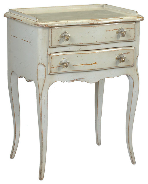 Racine French Country Cherry Wood Gray Nightstand  Traditional Nightstands And Bedside Tables