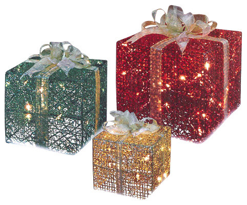 3 piece glittering gift box lighted christmas yard art decoration set - Outdoor Christmas Decorations Gift Boxes