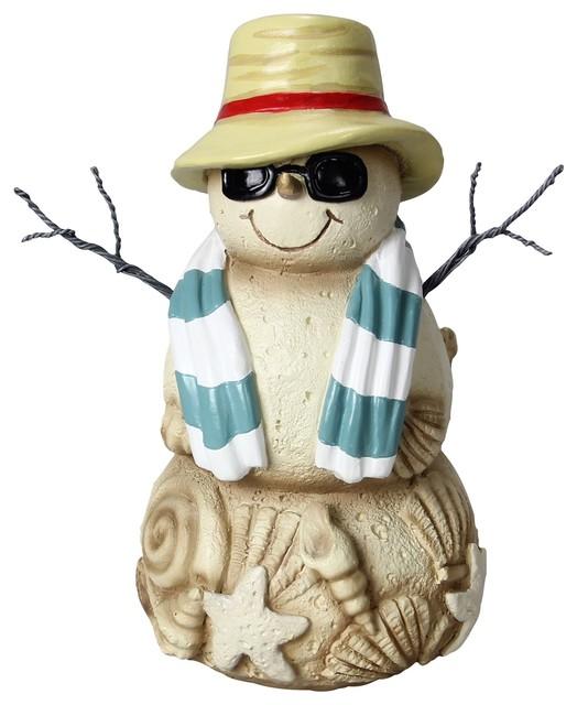"Coastal Beach Cool Shades Sand Snowman 7"" Tabletop Winter Figurine."