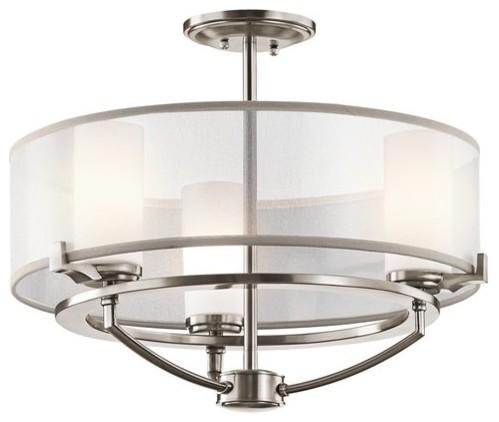 Kichler 42923clp 3 Light Convertible Chandelier / Semi-Flush Ceiling Fixture.