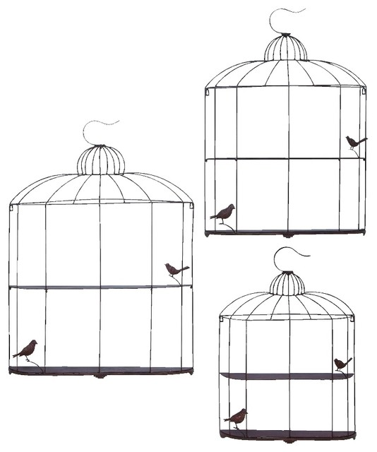 Decorative Metal Wall Shelves unique 2 tier brown metal wall shelf bird cage bird set of 3 decor