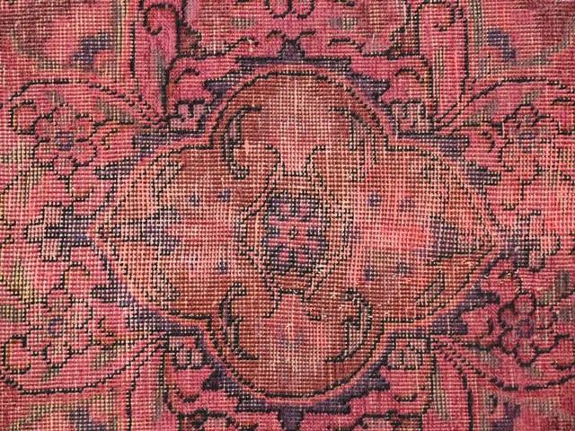 Pink Distress Look Tabriz Worn, Hand-Knotted Oriental Rug