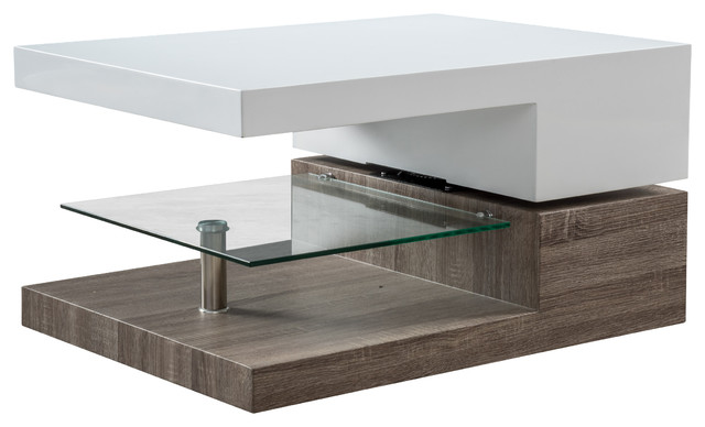 Exceptional Emerson Rectangular Mod Swivel Coffee Table W/ Glass Modern Coffee Tables