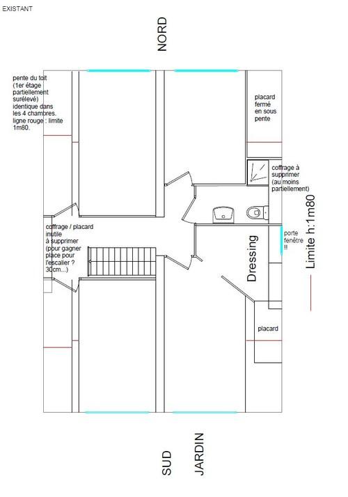Besoin D'Aide Plan Aménagement 1Er Étage Maison (3 Ch, 2 Sdb)