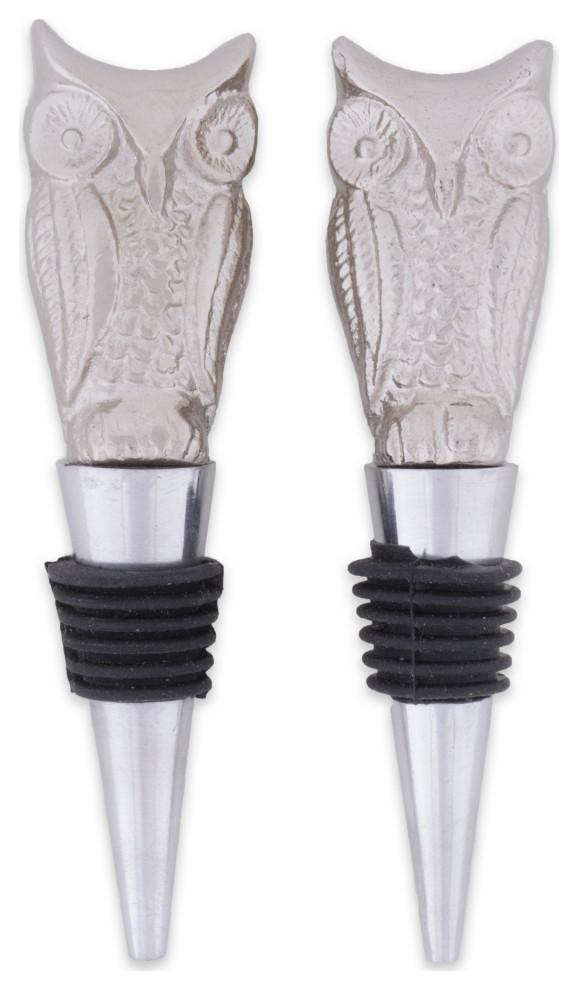 Design Imports DII Silver Eiffel Tower /& Fleur Del Lis Bottle Stopper Set of 2