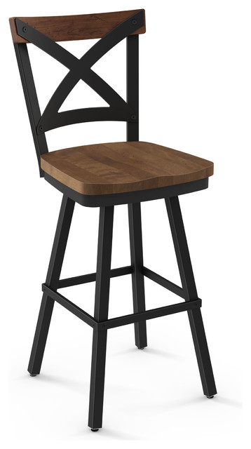 Jasper Swivel Textured Black Metal Stool, Seat