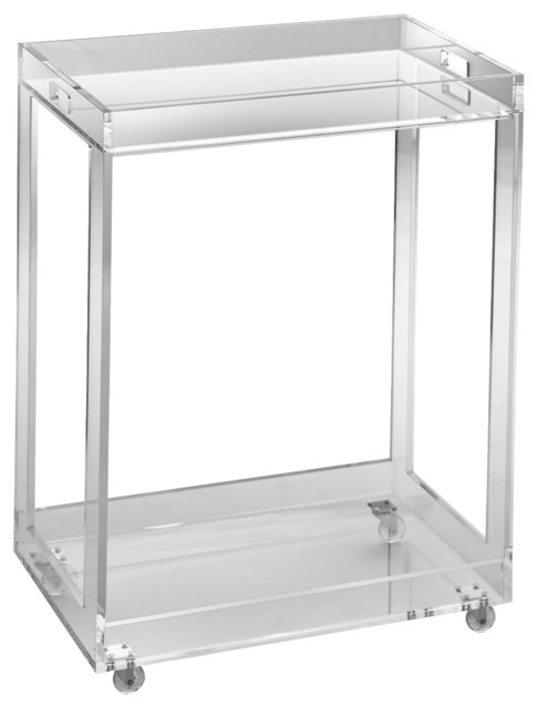 Ainsley Rolling Acrylic Bar Cart.