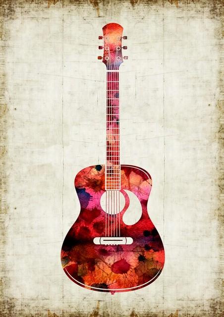 Artollo Red Guitar Watercolor Print View In Your Room