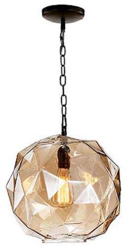 Faceted Glass Pendant Light.