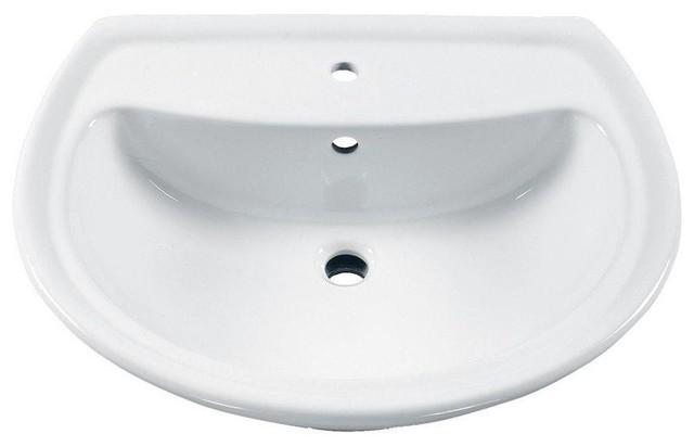 "Cadet 6"" Pedestal Sink Basin, Center Hole Only, White."