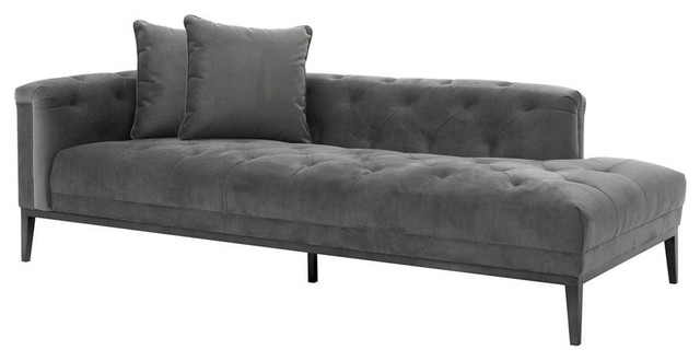 "Gray Sofa Left, Eichholtz Cesare, Gray, 87""x38""x26""."