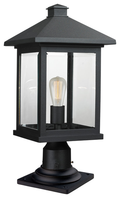 1 Light Outdoor Pier Mount Light, Black/clear Beveled.