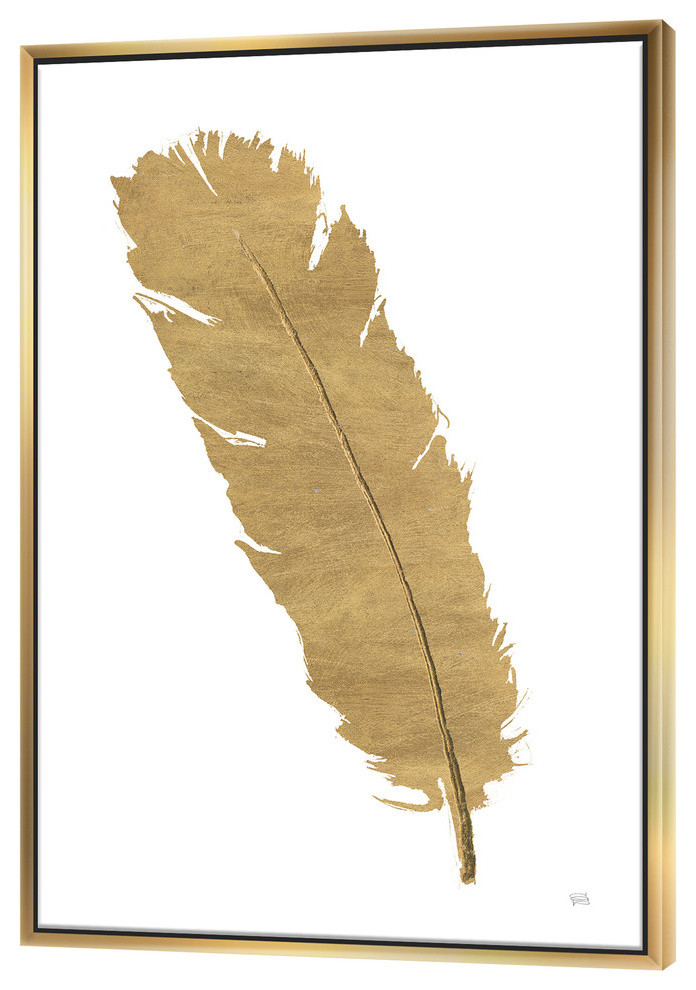 Designart Glam Pure Gold Feather Ii Glam Framed Wall Art Contemporary Prints And Posters By Design Art Usa