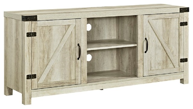 58 Farmhouse Tv Stand With Barn Door Side Doors Farmhouse Entertainment Centers And Tv Stands By Walker Edison