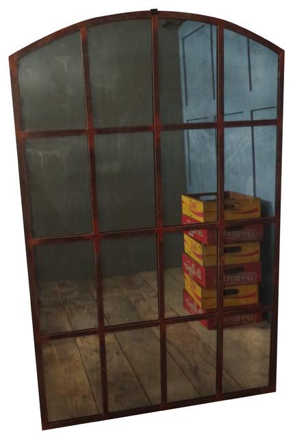 White iron floor mirror
