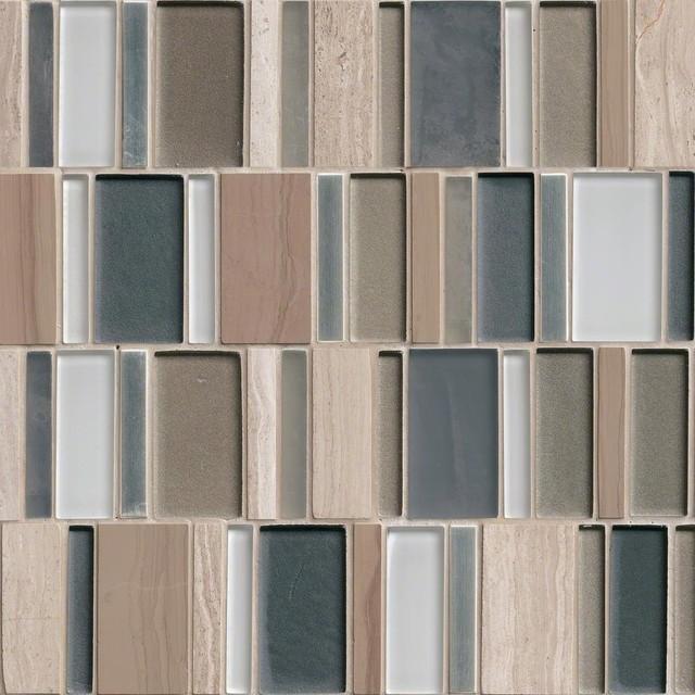 Paradise Bay Blend Glass Stone Metal Pattern Mosaic Tiles, 10 Pieces