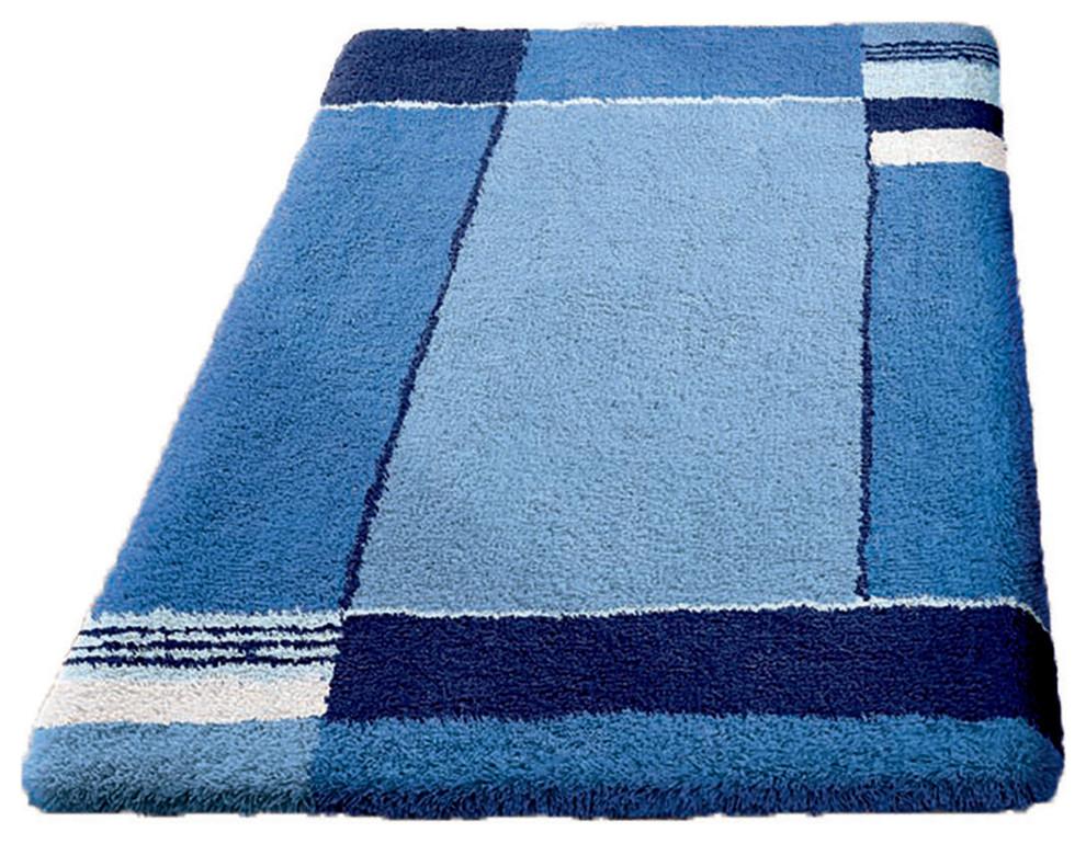 navy blue non slip washable bathroom rug, padova