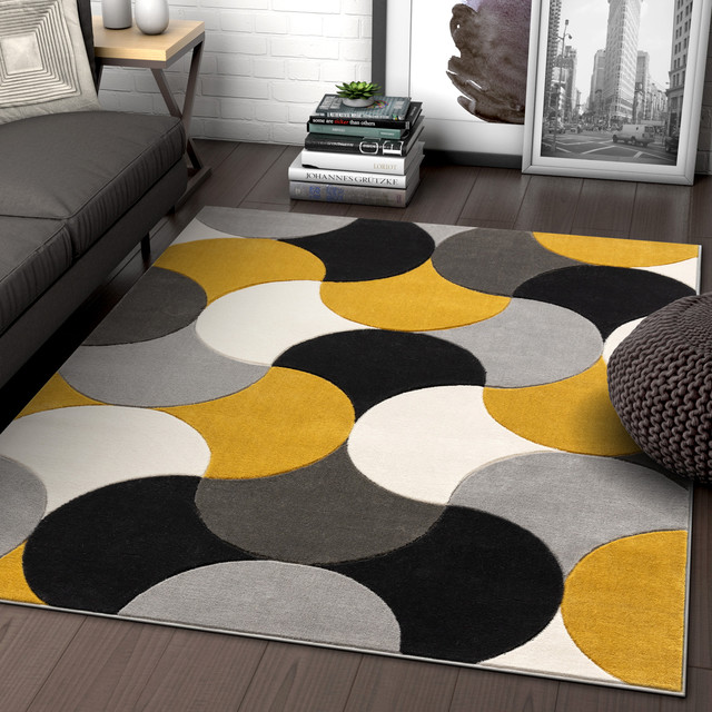 Well Woven Good Vibes Helena Modern Abstract Geometric Gold Area Rug Contemporary Area Rugs By Well Woven