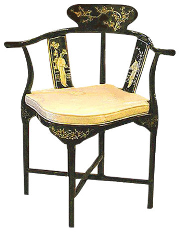 Hand Painted Black Lacquer Oriental Corner Chair Inlaid With Mother Of Pearl
