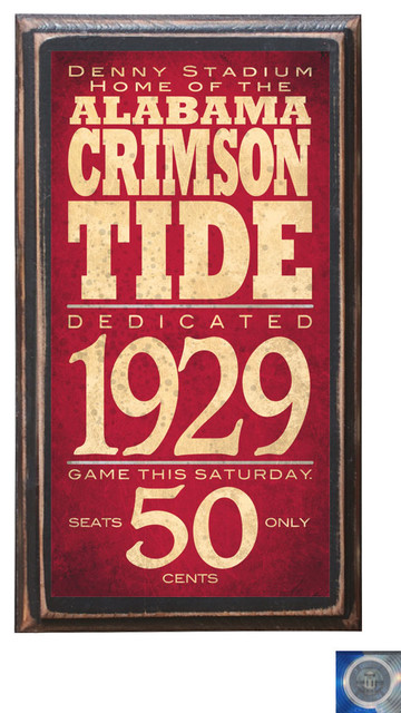 Alabama Crimson Tide Home Decor Wall Art Plaque Sign Gift Present Traditional Game Room Wall Art And Signs By Crestfield