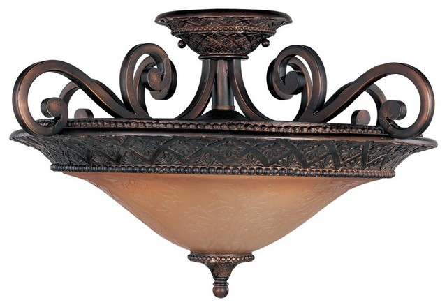 three light oil rubbed bronze screen amber glass bowl semi-flush