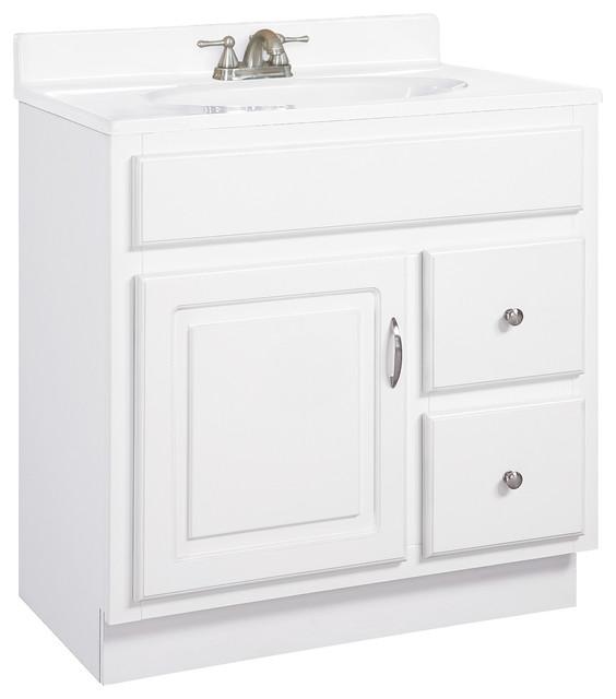 Concord 30x21 Vanity 1 Door 2 Drawer White White Gloss Finish.