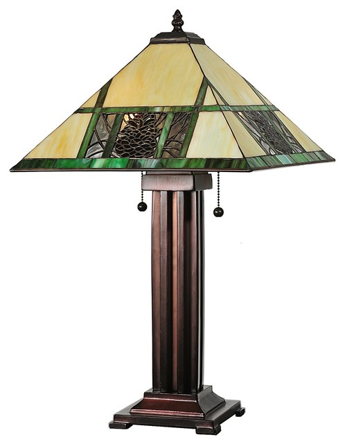 Meyda Tiffany Pinecone Mission Tiffany Table Lamp X 15876 Craftsman Table  Lamps