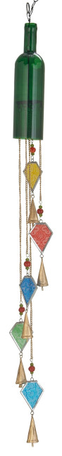 "Eclectic 41""x3"" Multi-Colored Iron and Glass Bottle Wind Chime"