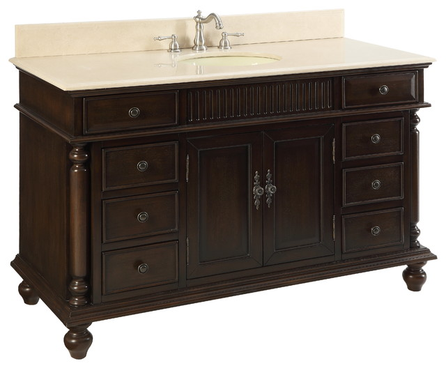 53 Wood Solid Large Single Sink Brockton Bathroom Vanity Traditional Bathroom Vanities And Sink Consoles By Chans Furniture Showroom Houzz