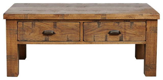 4 drawer heyford rough sawn oak coffee table