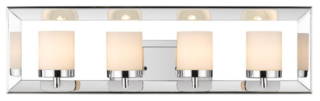 Modern Bathroom Light With Mosaic Glass, Satin Nickel